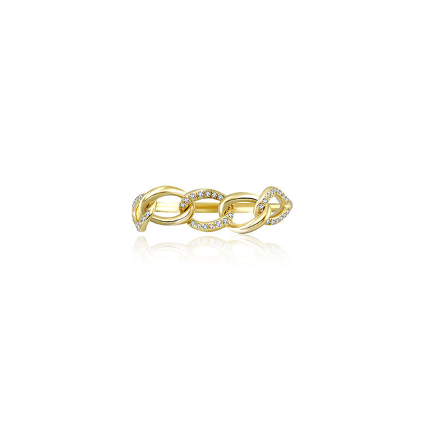 18k Gold Chain Shape Diamond Ring - Genevieve Collection