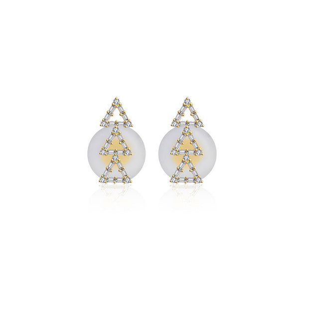 18k Gold Triple Hollow Triangle Diamond Earring - Genevieve Collection