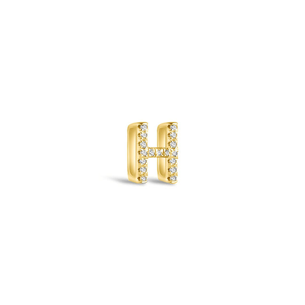 "18k Gold Initial Letter ""H"" Diamond Pandent + Necklace - Genevieve Collection"