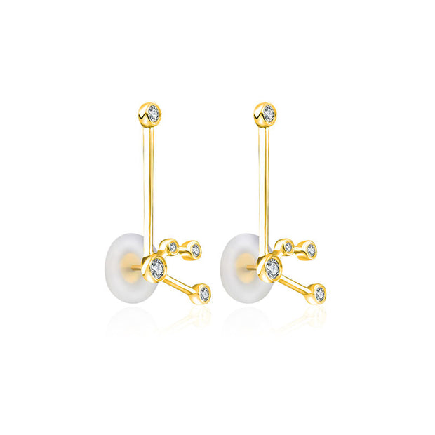 18k Gold Aquarius Diamond Earring - Genevieve Collection