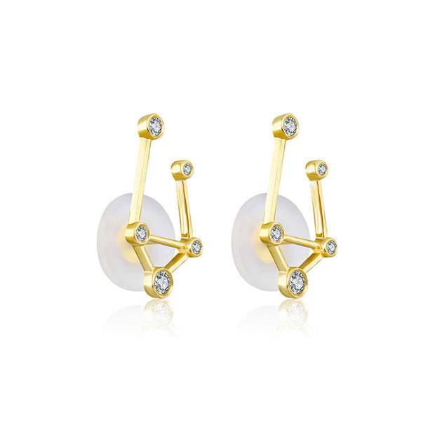 Libra Zodiac Constellation Earring 18k Gold & Diamond - Genevieve Collection
