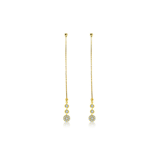 18k Gold Wire Style Hoop Diamond Earring with Titanium - Genevieve Collection