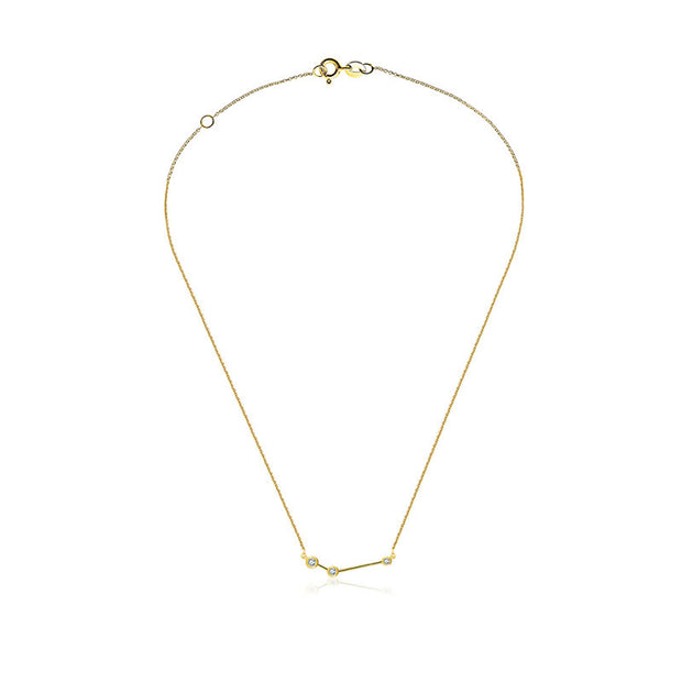 18k Gold Aries Diamond Necklace - Genevieve Collection