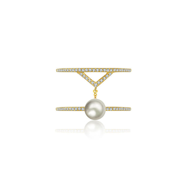18k Gold Pearl Connection Diamond Ring - Genevieve Collection