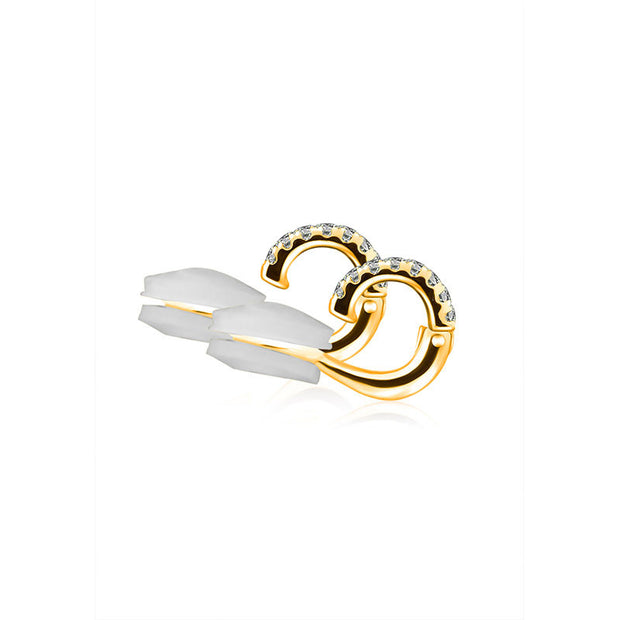 18k Gold Triple Curve Dangling Diamond Ear Cuff - Genevieve Collection