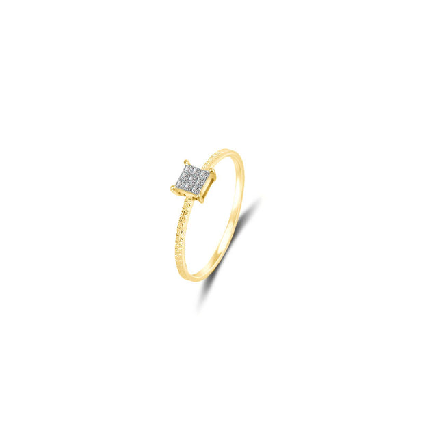 18k Gold Square Shape Diamond Ring - Genevieve Collection