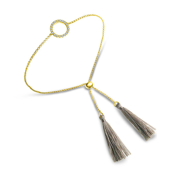18k Gold Round Shape Diamond Bracelet with Gray Tassel - Genevieve Collection