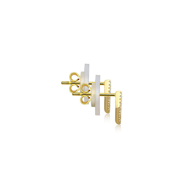 18k Gold Hollow Geometry Diamond Earring - Genevieve Collection