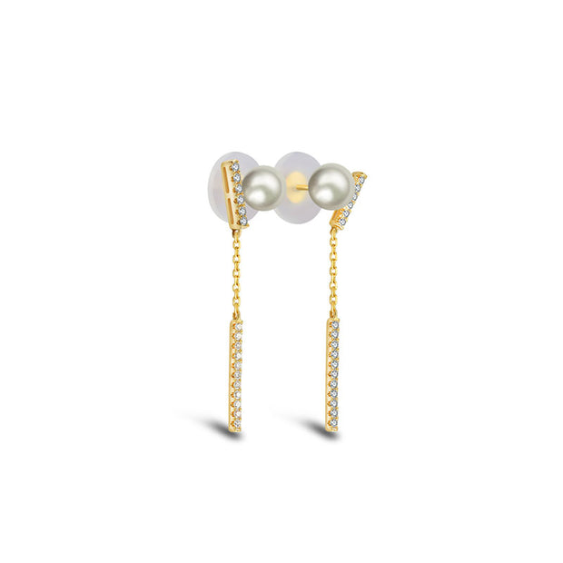 18k Gold Dangle Diamond Bar Earring with Pearl - Genevieve Collection