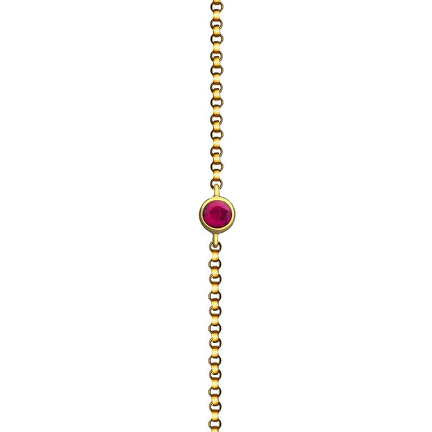 18k Gold July Birthstone Ruby Bracelet - Genevieve Collection