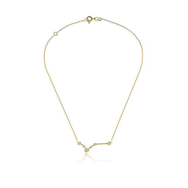Pisces Zodiac Constellation Necklace 18k Gold & Diamond - Genevieve Collection