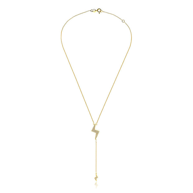 18k Gold Lightning Bolt Dangling Diamond Necklace - Genevieve Collection