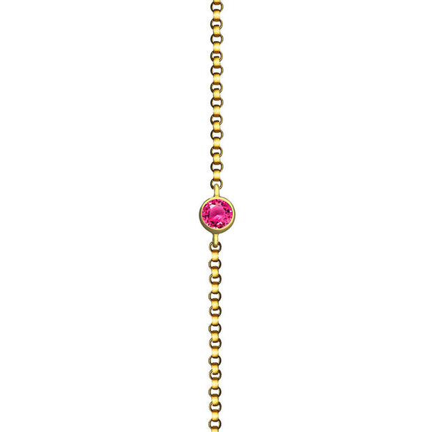 18k Gold October Birthstone Tourmaline Bracelet - Genevieve Collection