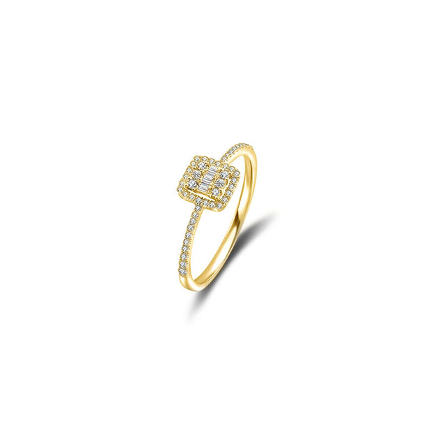 18k Gold Double Halo Diamond Ring - Genevieve Collection
