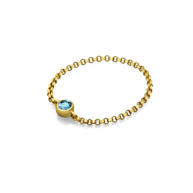 18k Gold March Birth Stone Aquamarine Chain Ring - Genevieve Collection