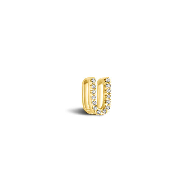 "18k Gold Initial Letter ""U"" Diamond Pandent + Necklace - Genevieve Collection"