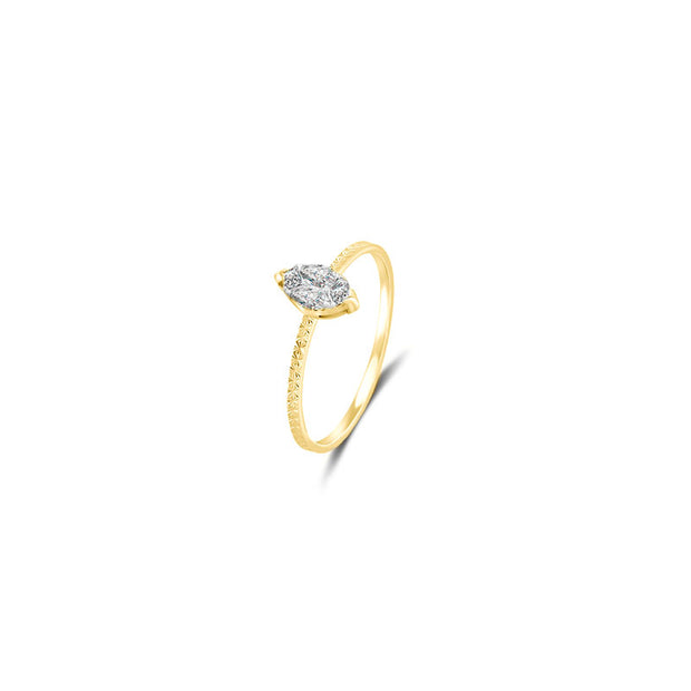 18k Gold Marquise Shape Diamond Ring - Genevieve Collection