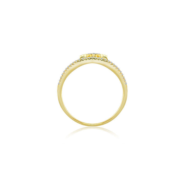 18k Gold Triple line Star Diamond Ring - Genevieve Collection