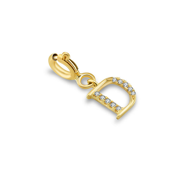 "18k Gold Letter ""D"" Diamond Charms - Genevieve Collection"