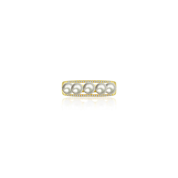 18k Gold Double Line Diamond Ring With Pearl - Genevieve Collection