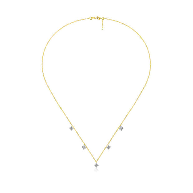 18k Gold Rhombus Shape Diamond Necklace / Choker - Genevieve Collection