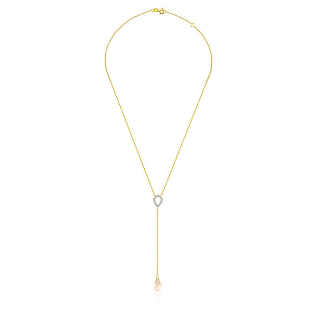 18k Gold Pink Quartz Chain Diamond Necklace With Drop Shape - Genevieve Collection