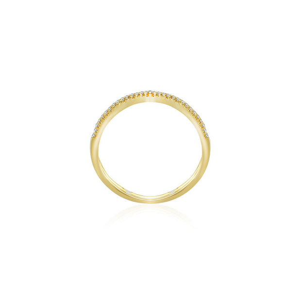 18k Gold Double Wave Line Diamond Ring - Genevieve Collection