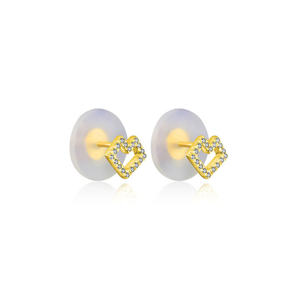 18k Gold Hollow Heart Shape Diamond Earring - Genevieve Collection