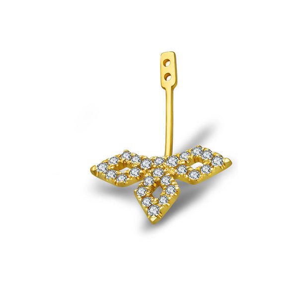 18k Gold Diamond Shape Single Earring Jacket With Round Diamond (Half Pair) - Genevieve Collection