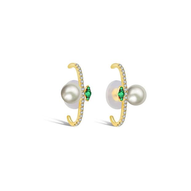 18k Gold Half Hoop Diamond Earring with Pearl and Emerald - Genevieve Collection