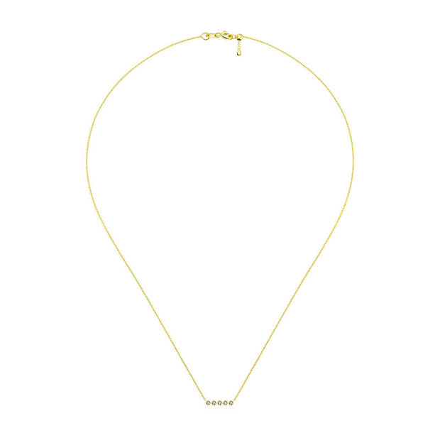 18k Gold Horizontal Dot Diamond Necklace