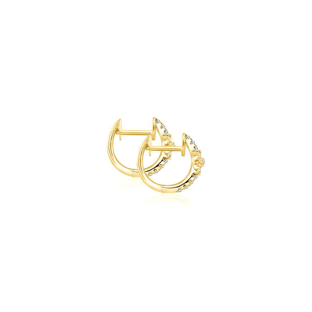 18k Gold Hoop Diamond Earring with Flower Pattern - Genevieve Collection