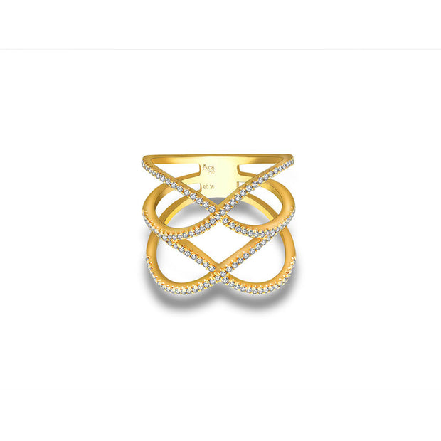 18k Gold Double Wave Diamond Ring - Genevieve Collection