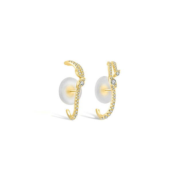 18k Gold Twisted Shape Half Hoop Diamond Earring - Genevieve Collection