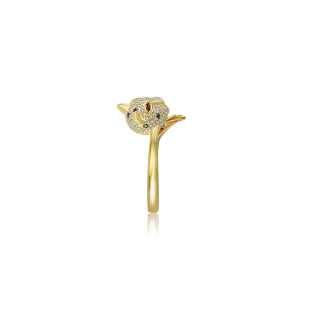 18k Gold Leopard Shape Diamond Open Ring - Genevieve Collection