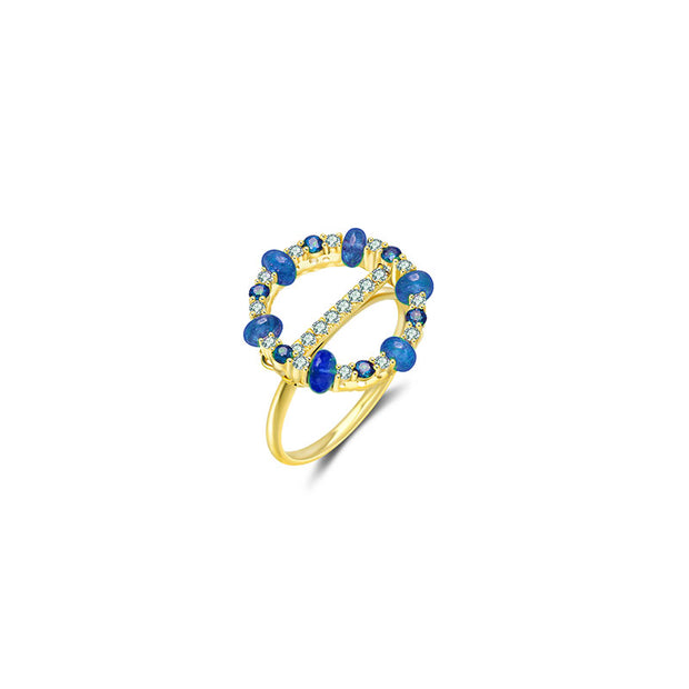 18k Gold 2 ways Beaded Sapphire and Diamond Ring - Genevieve Collection