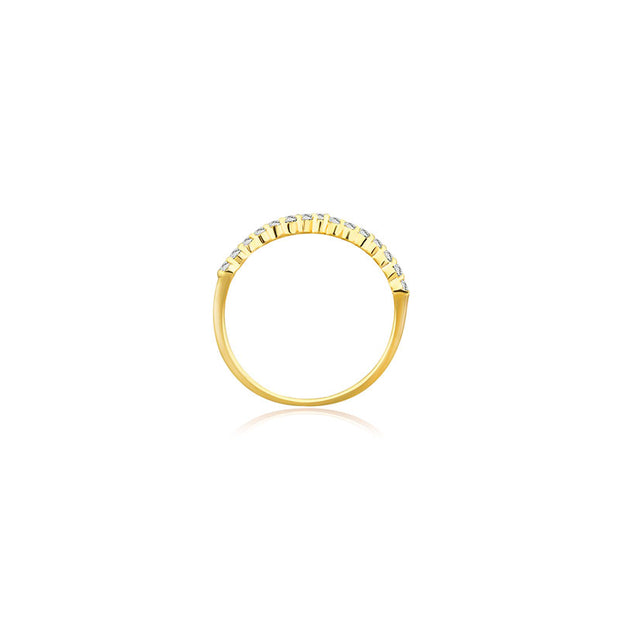 18k Gold Cross Diamond Chain Ring - Genevieve Collection