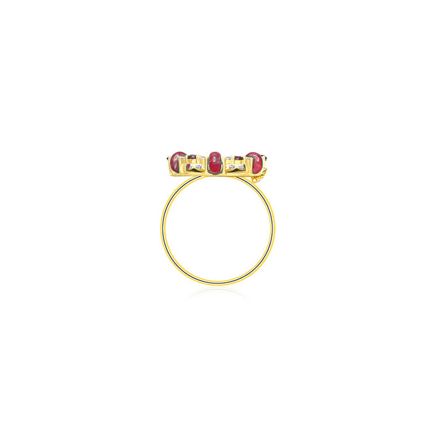 18k Gold 2 ways Beaded Ruby and Diamond Ring
