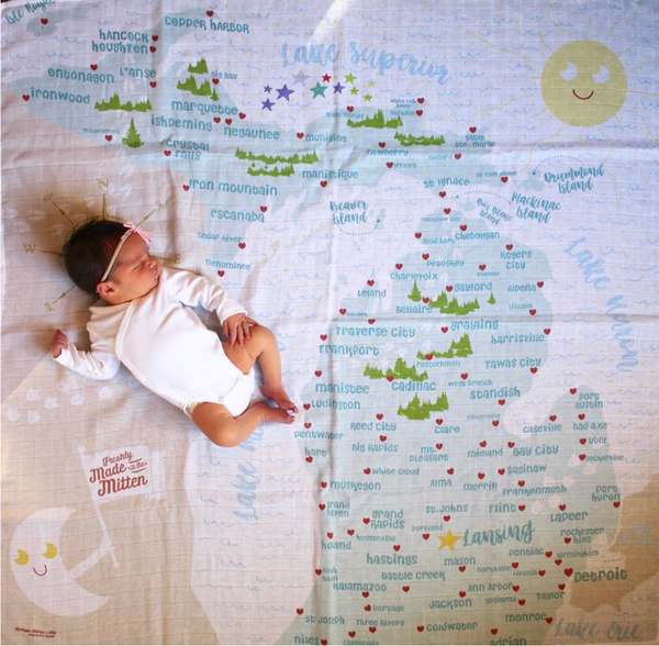 Michigan Map Baby Swaddle Blanket