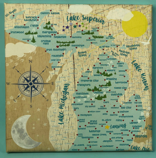 Whimsical Wall Art Michigan Map