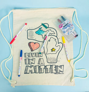 """Livin' in the Mitten"" Coloring Canvas Back Pack w/ Markers"
