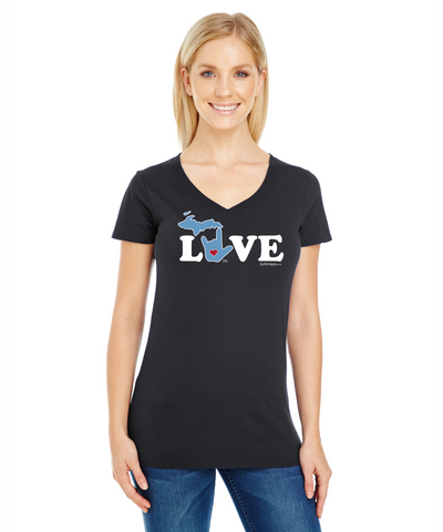 lLY Michigan Long Ladies V-Neck