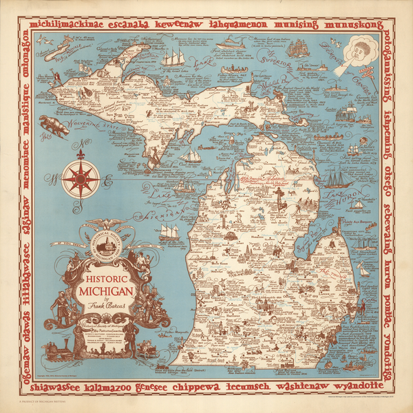 Historic Michigan Map Bandana