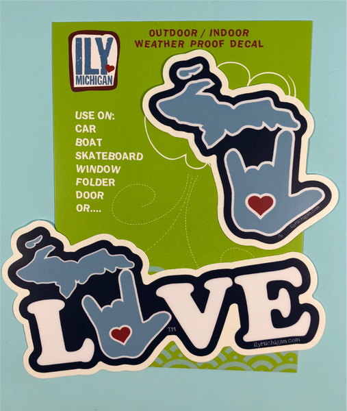ILY Michigan LOVE decal