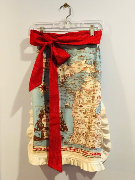 Ruffled, Handmade Michigan Map Apron