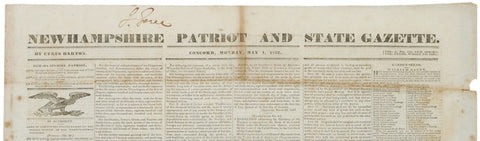 Newspaper, 1837, NEW HAMPSHIRE PATRIOT