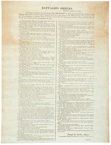 1818, Broadside, BATTALION ORDERS