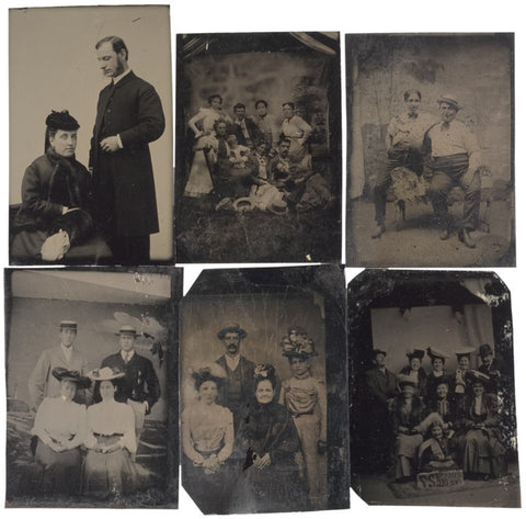 c. 1880, Six Assorted Tintypes of Families