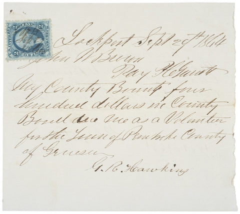 1864, Bounty Receipt, Town of Pembroke County