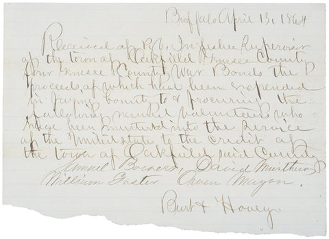Civil War Bounty Receipt for 4 Soldiers, 1864